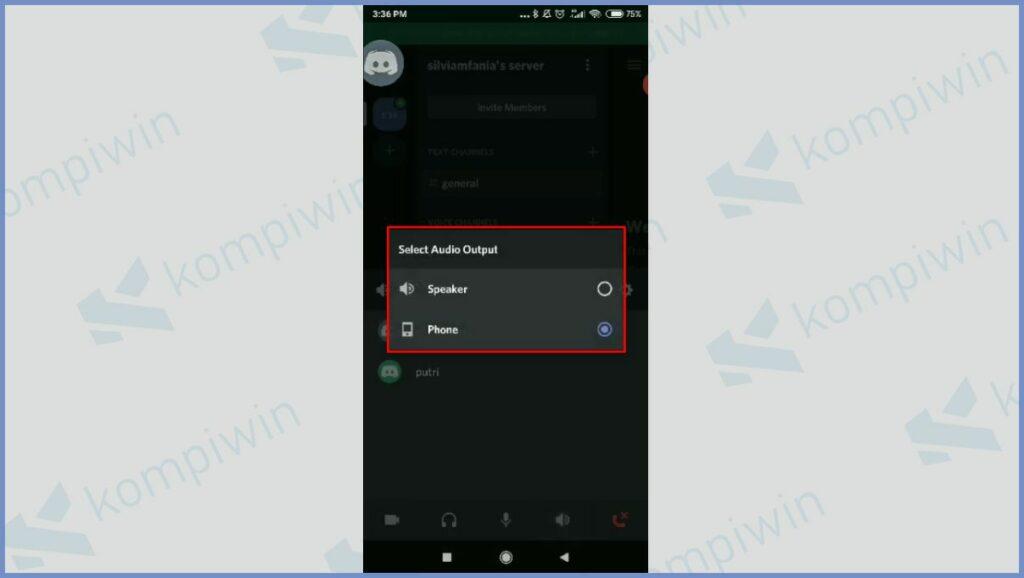 Klik Audio Output dan Pilih Phone