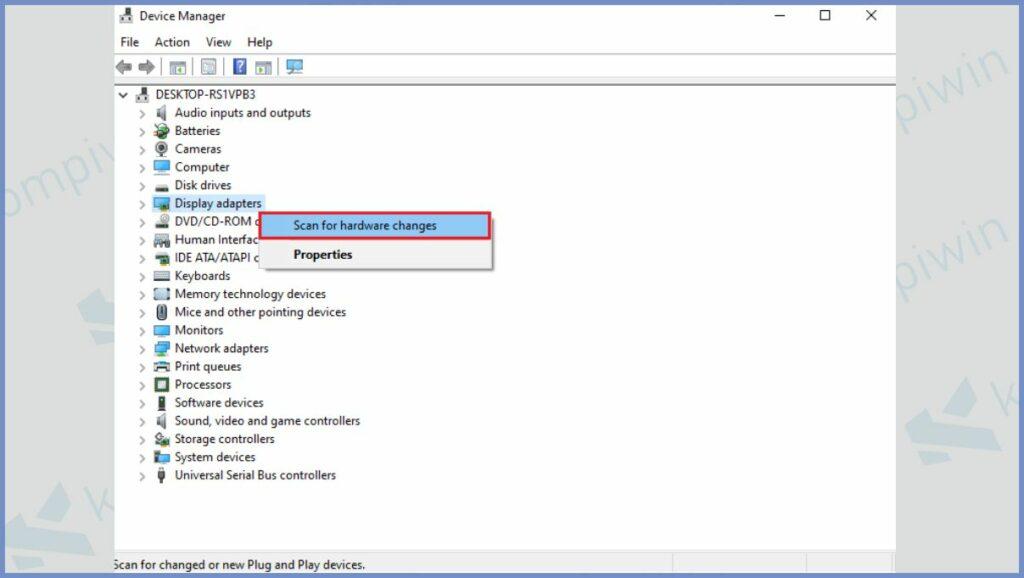 Klik Kanan dan Pilih Scan for hardware changes
