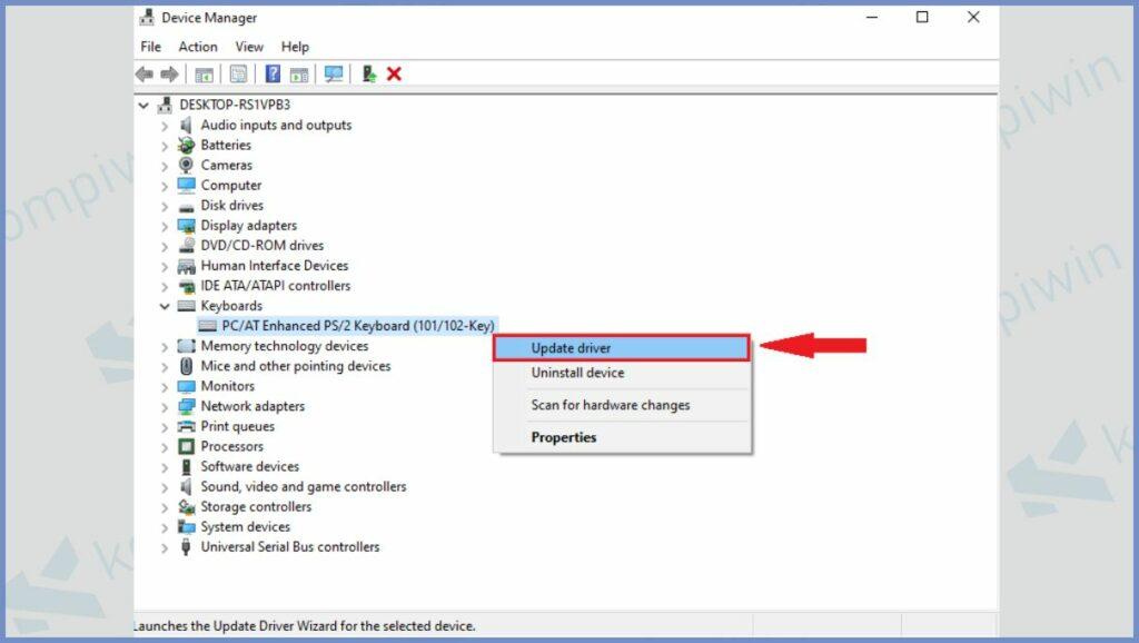 Klik Kanan dan Pilih Update driver