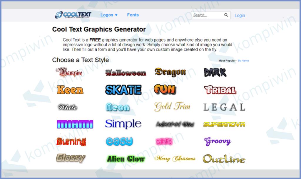 Masuk Ke Website CoolText