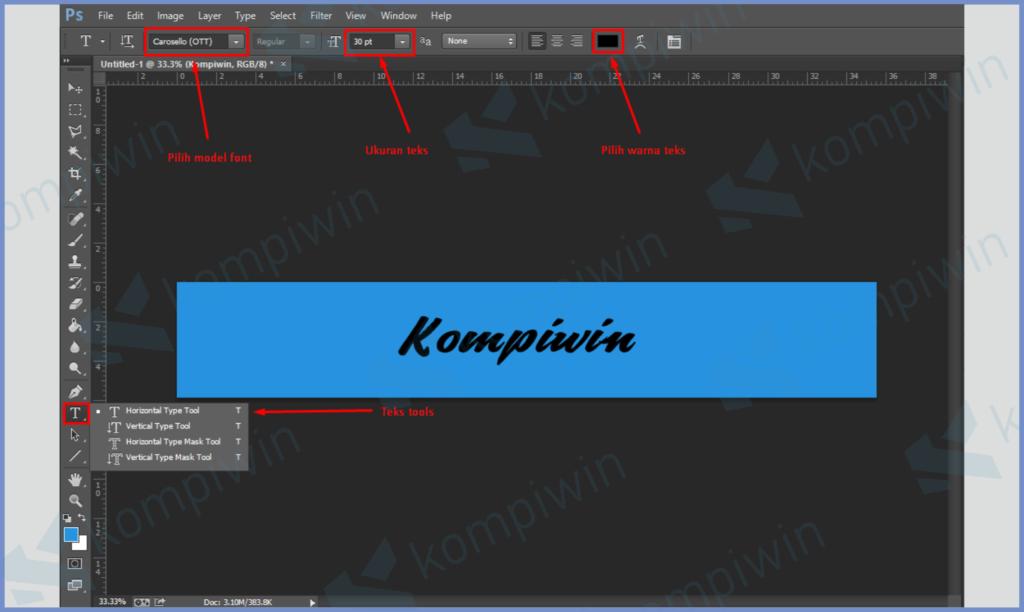 Masukkan Teks, Atur Font, Ukuran dan Warna