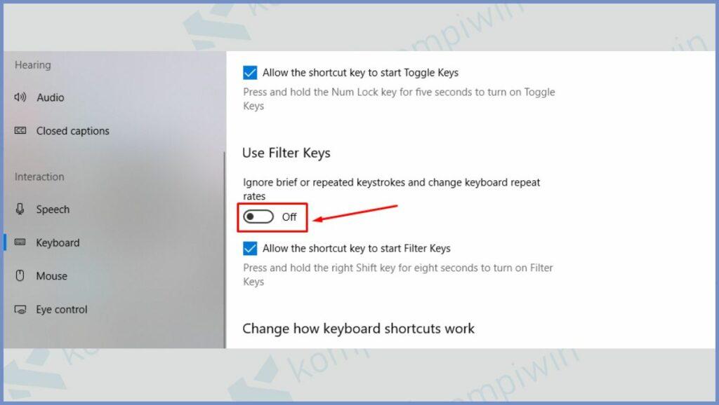 Matikan Filter Keys