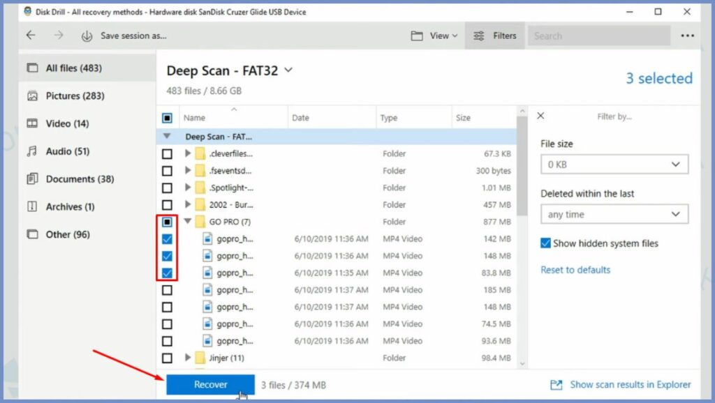 Pilih File dan Klik Recover untuk Merecovery File yang Hilang