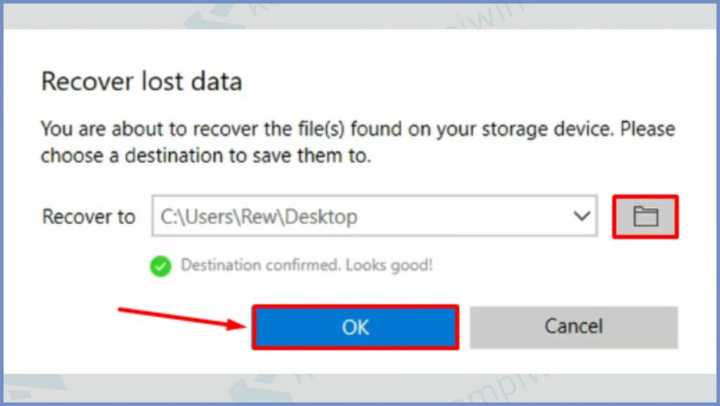 Pilih Tempat Folder yang Digunakan untuk Menyimpan File Recovery
