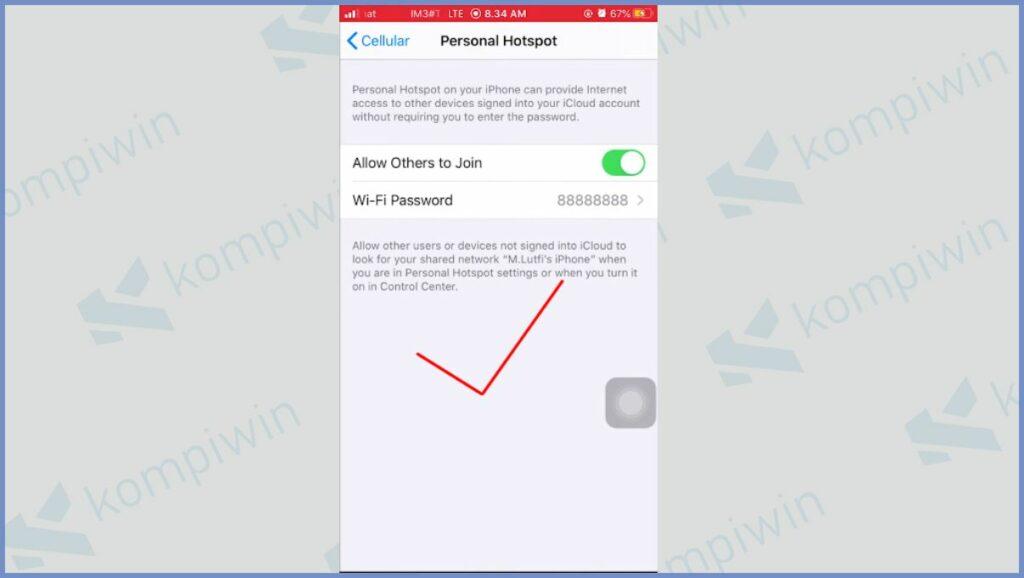 Tinggal Aktifkan Hostpot iPhone