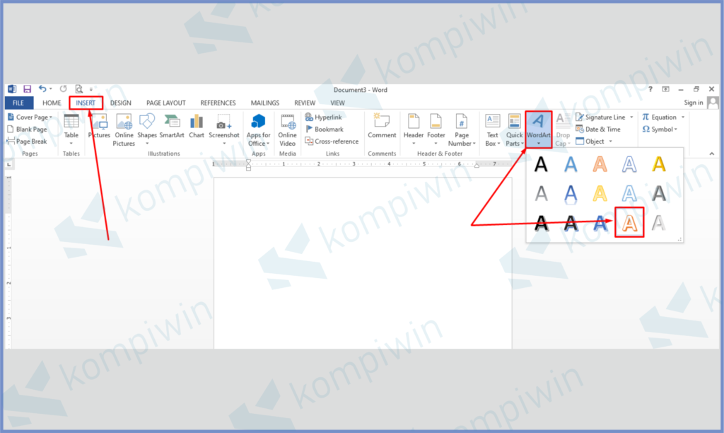 Bikin WordArt Di Menu Insert