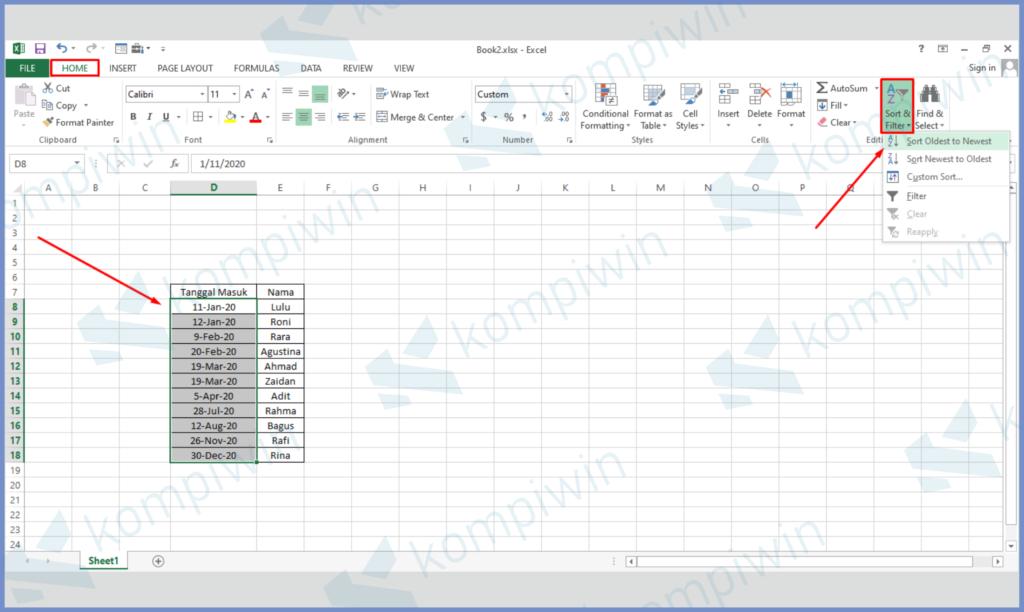 Blok Data dan Tekan Tombol Sort & Filter