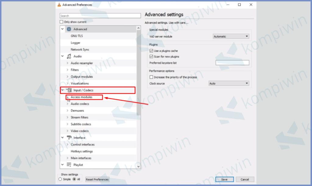 Buka Panah Access Modules Pada Sub Menu Input Codes