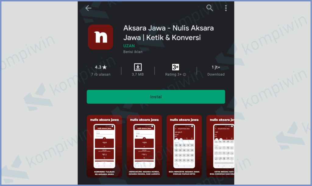 Buka Playstore dan Instal Nulis Aksara Jawa