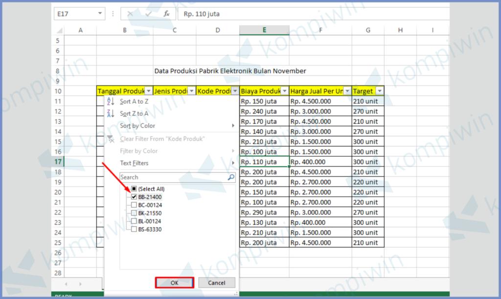 Centang Data Yang Ingin Kamu Seleksi
