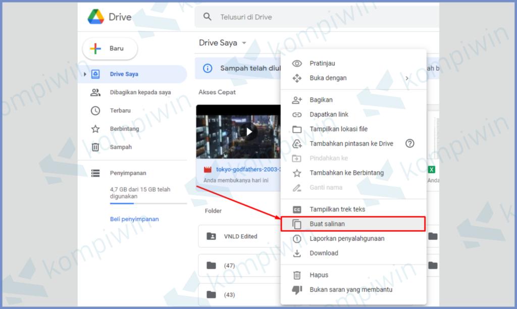 Klik Kanan File Dan Tekan Buat Salinan