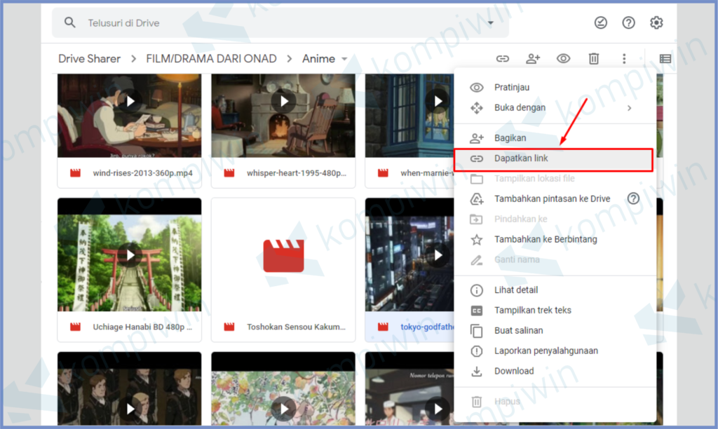 Klik Kanan File Lalu Pilih Dapatkan Link