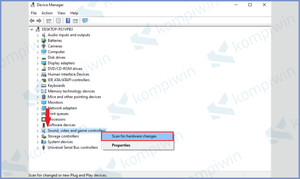 Klik Kanan Sub Menu dan Tekan Scan For Hardware Changes