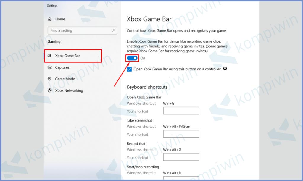 Masuk Ke Tab Menu Xbox Game Bar dan Centang Poisis On