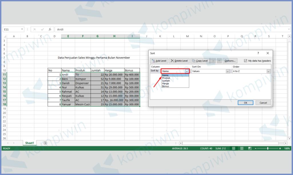 Sesuaikan Urutan Data Di Kotak Column