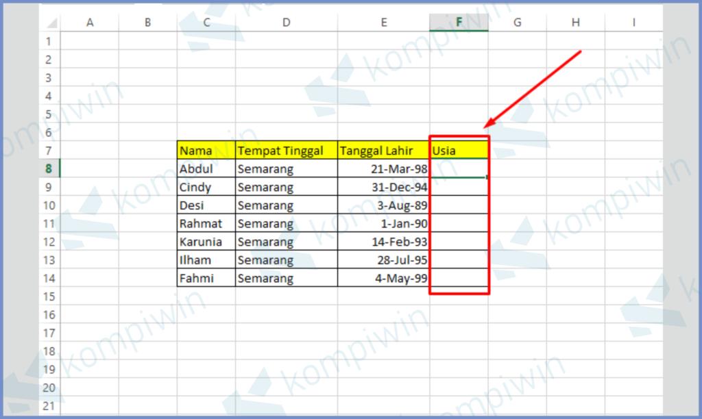 Siapkan Data Dalam Bentuk Tabel