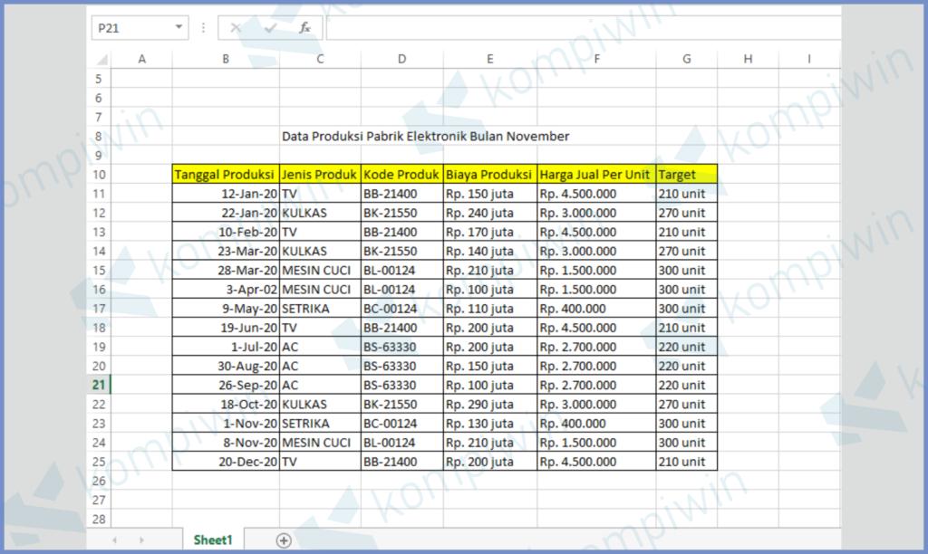 Siapkan Tabel Data