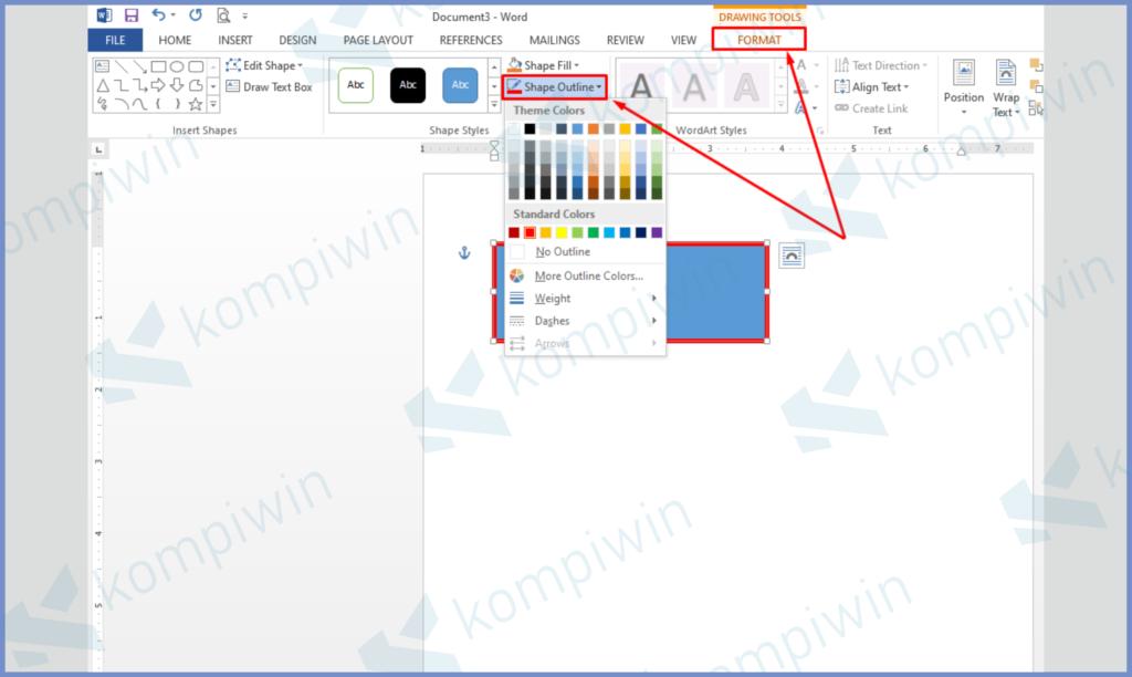 Tekan Format dan Buka Shape Outline Untuk Mengatur Warna, Ukuran, Dashes