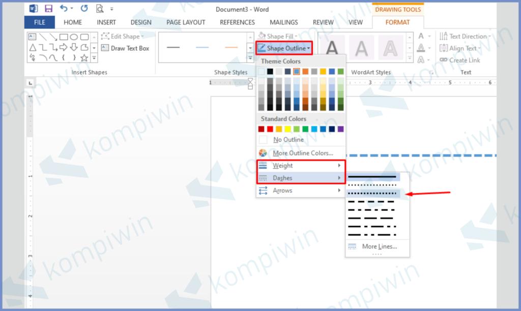 Tekan Shape Outline Untuk Mengatur Warna, Ukuran, Dashes