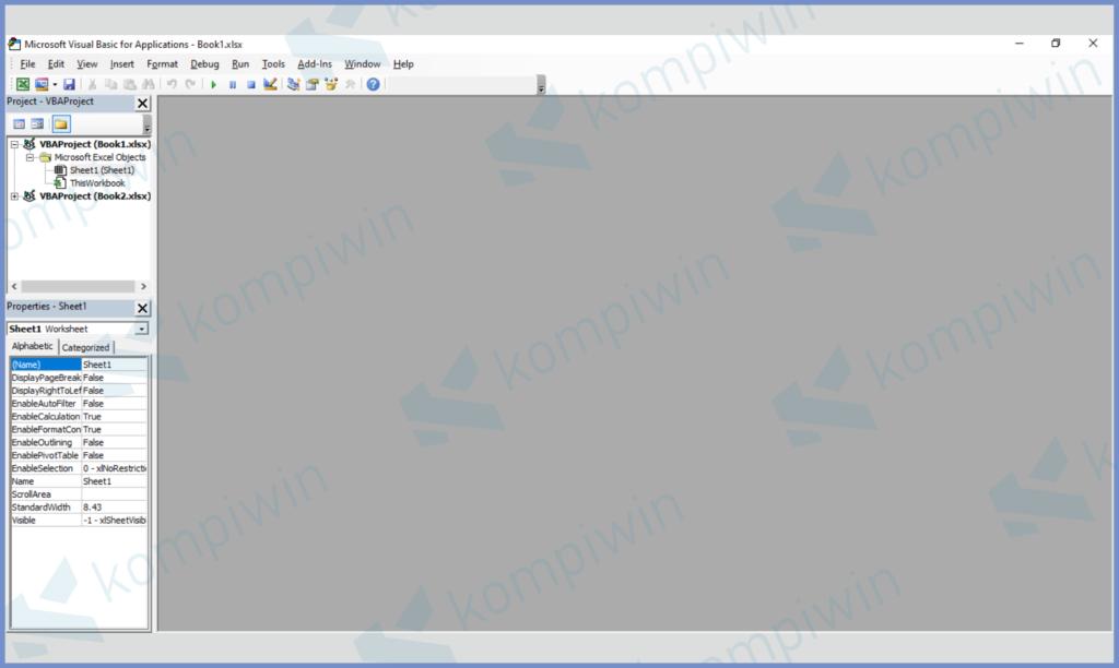 Tekan Tombol ALT + F11 Untuk Membuka MVB