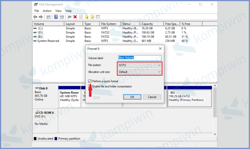 Ubah File System, Allocation Unit, Centang Quick Format