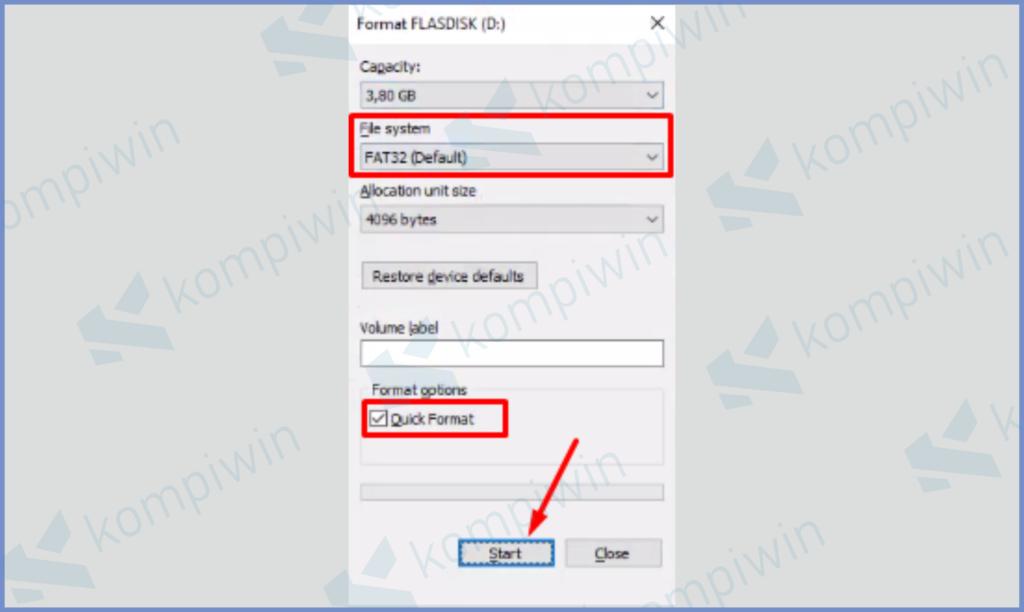 Ubah File System FAT32 dan Centang Quick Format