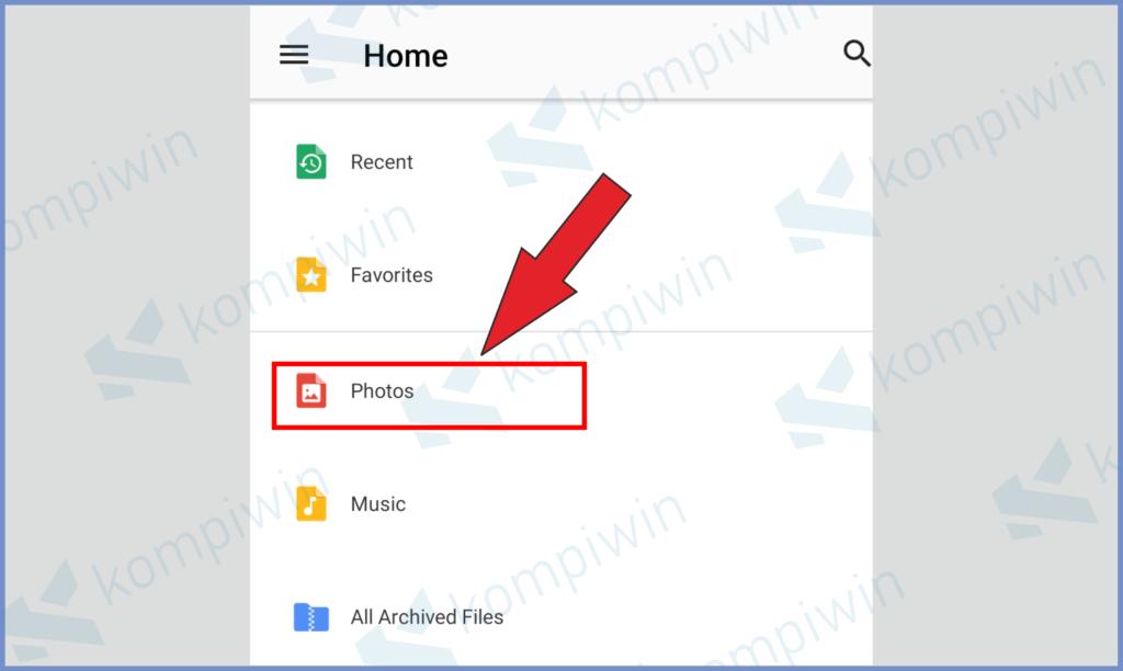 Buka Aplikasi WinZip Dan Ketuk Photos