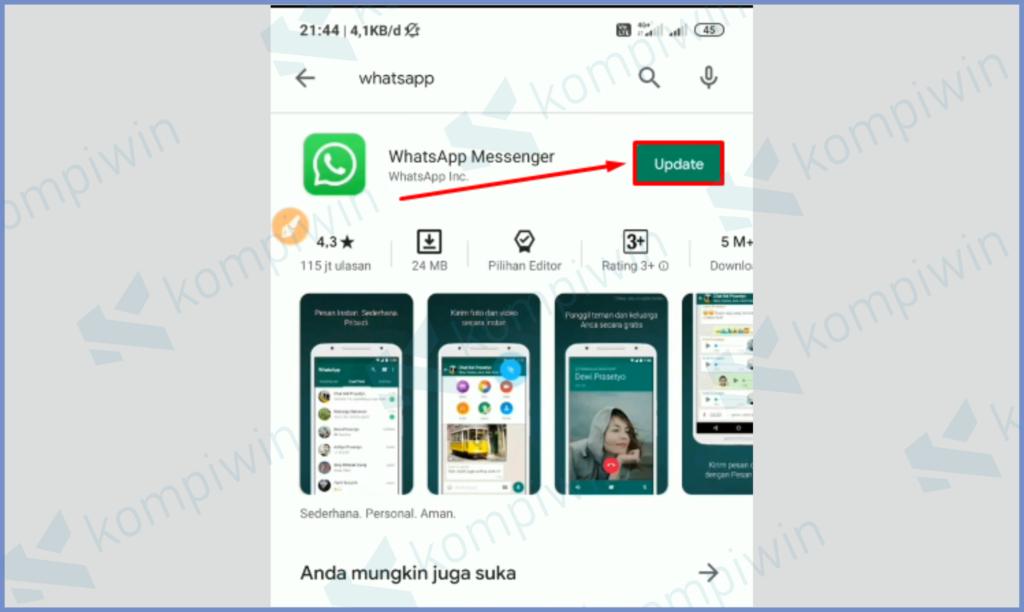 Buka Playstor Dan Cari Whatsapp, Tekan Update