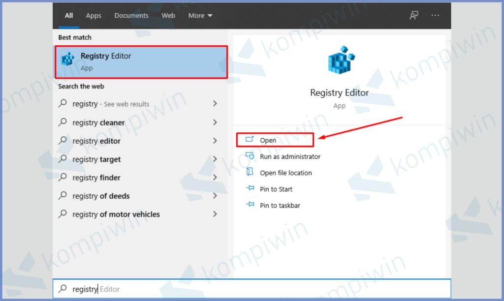 Buka Program Registry