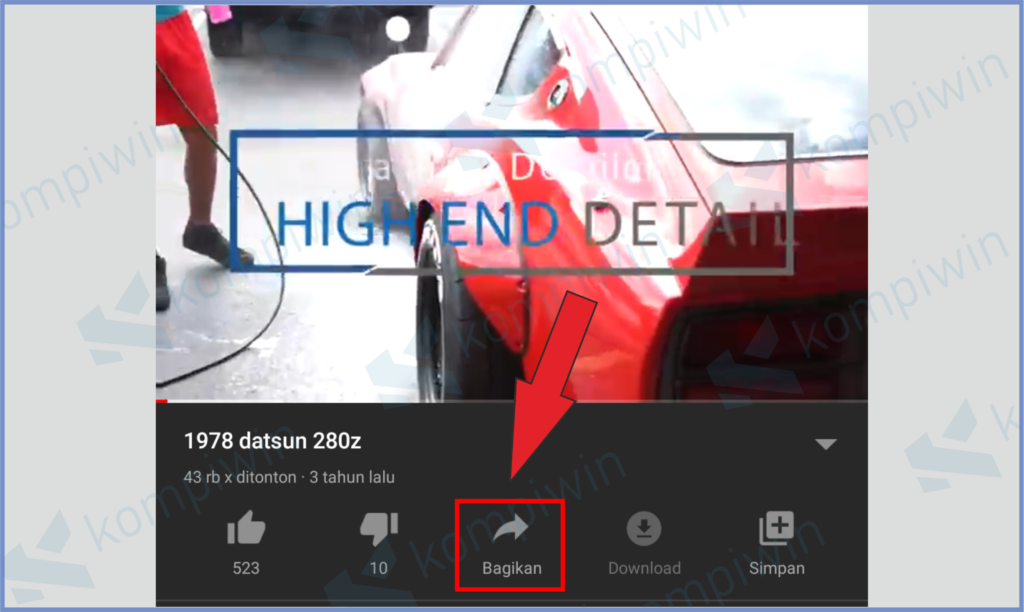 Buka Video Di Youtube Lalu Tekan Tombol Share
