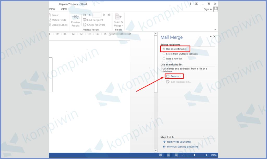 Centang Use An Existing List Kemudian Buka File Excel