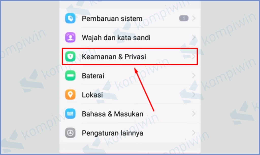 Ketuk Menu Keamanan Dan Privasi