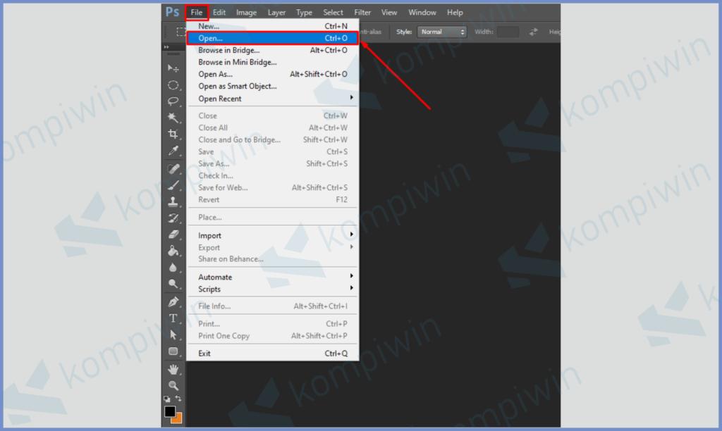 Klik File dan Buka Tombol Open