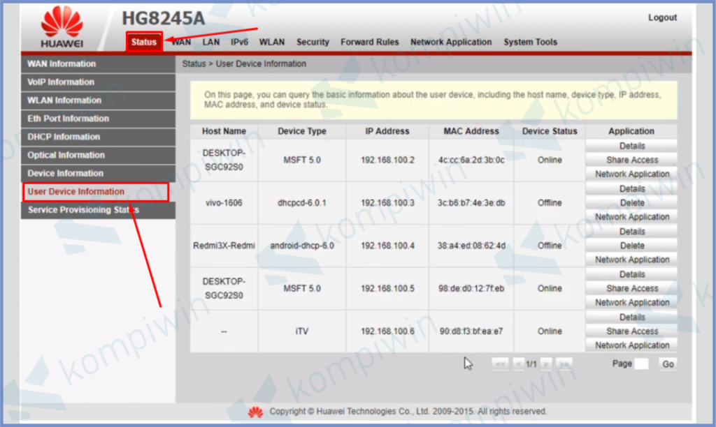Klik Menu Status Lalu Pilih User Device Information