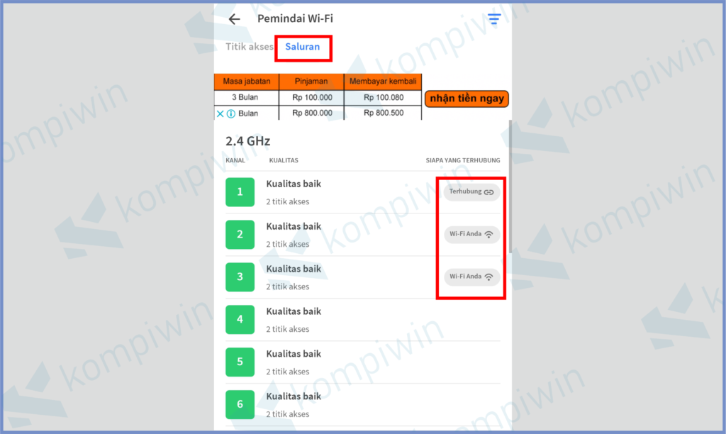 Klik Sub Menu Saluran Dan Lihat Client List Yang Terhubung Dengan Wifi Kamu