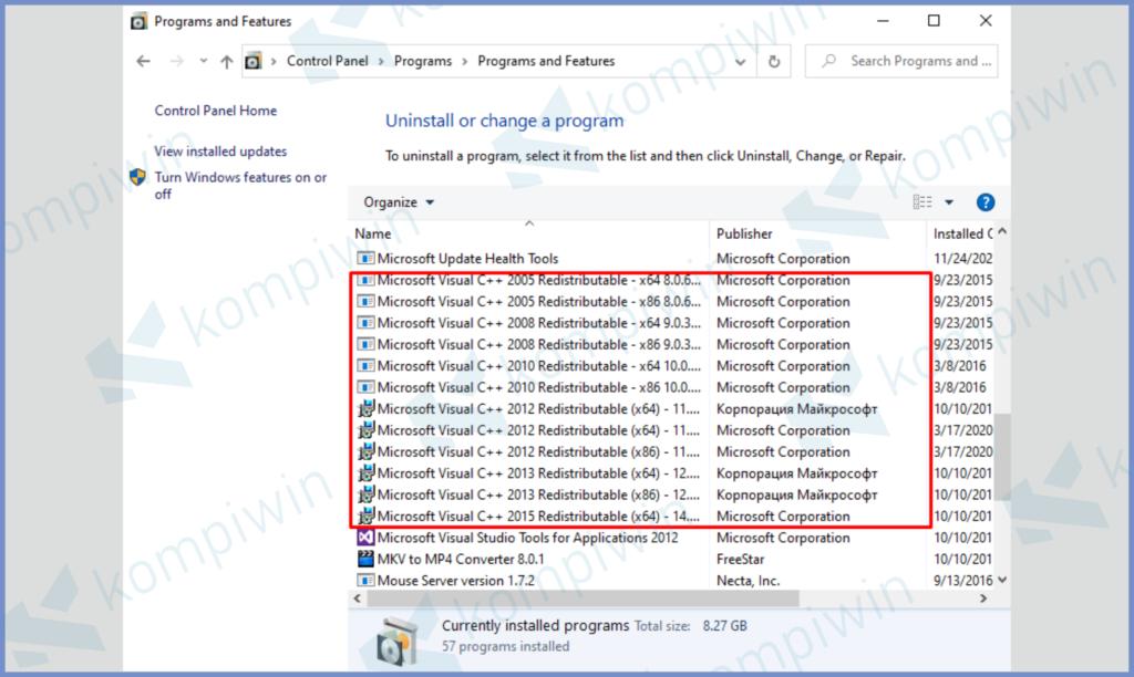 Lihat Bagian Microsoft Visual Yang Hilang