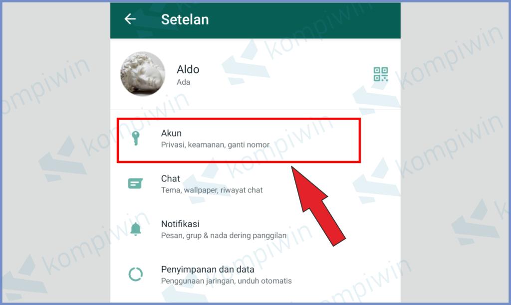 Masuk Ke Setelan Whatsapp Dan Tekan Akun