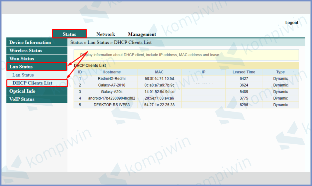 Masuk Ke Status, Lan Status dan Tekan DHCP Client List