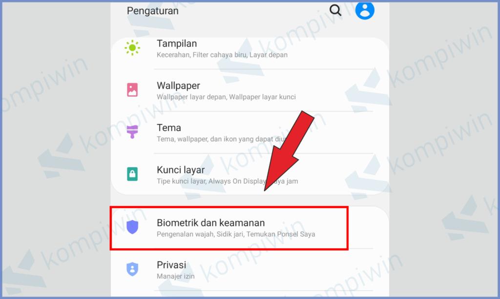 Masuk Pengaturan Samsung Lalu Pilih Biometrik dan Keamanan