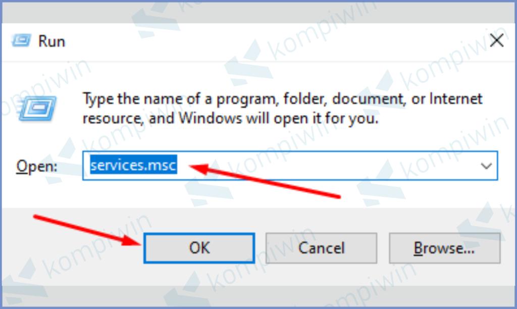 Masukkan Servicesmsc Pada Windows + R