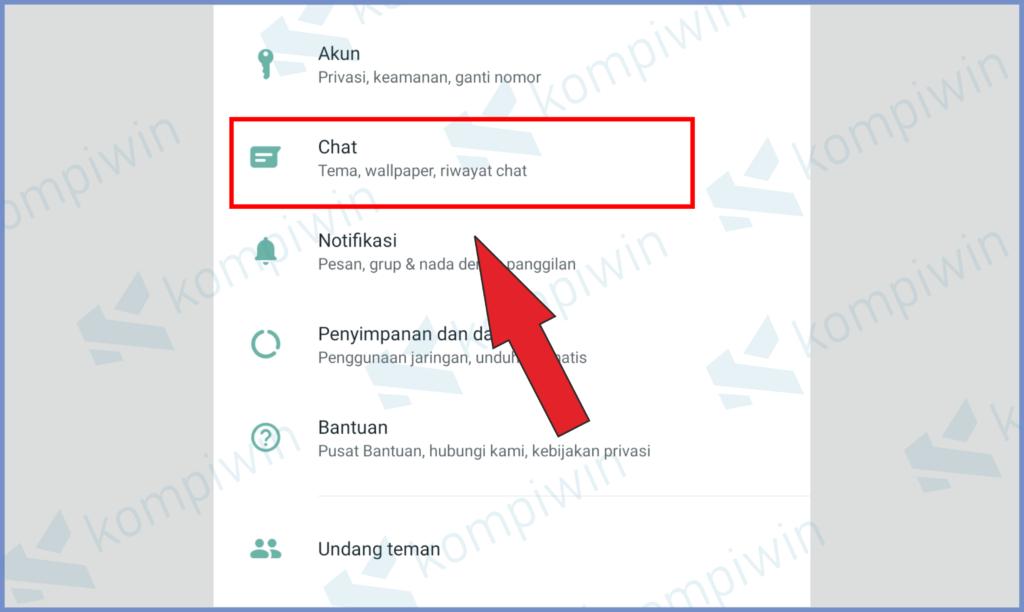 Pilih Menu Pengaturan Chat
