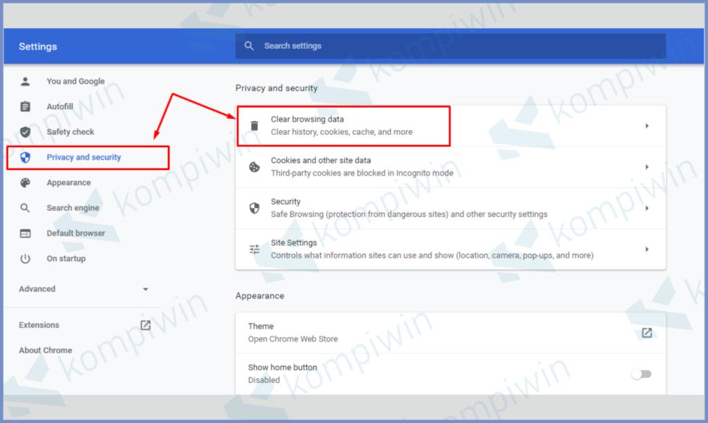 Pilih Privacy and Security Lalu Tekan Clear Browsing Data