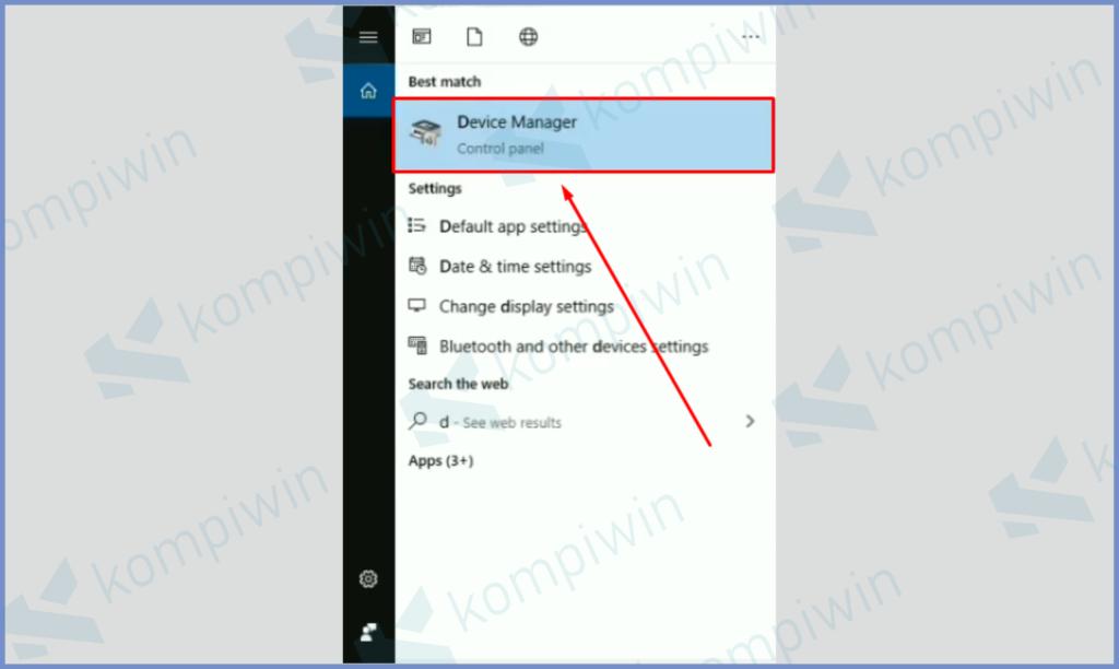 Silahkan Buka Device Manager Lewat Pencarian Start