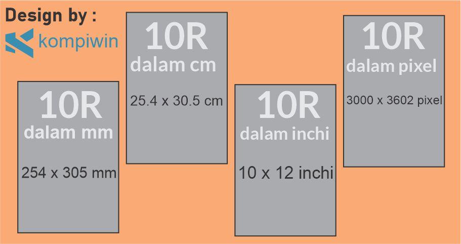 Ukuran Foto 10R di mm, cm, inchi, dan pixel