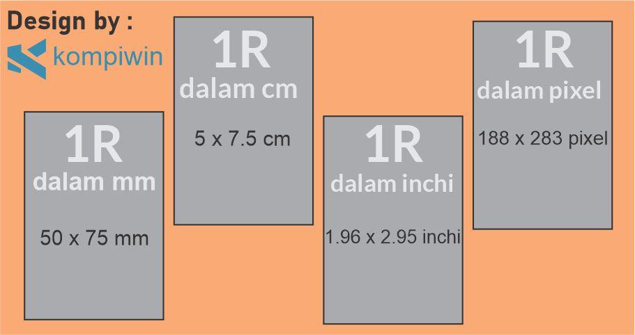 Ukuran Foto 1R dalam mm, cm, inchi, dan pixel