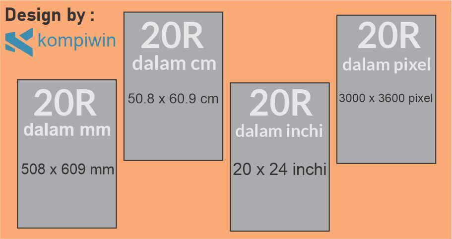 Ukuran Foto 20R dalam mm, cm, inchi, dan pixel