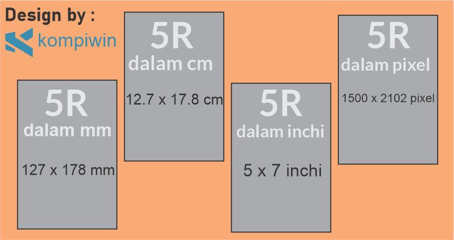 Ukuran Foto 5R di mm, cm, inchi, dan pixel