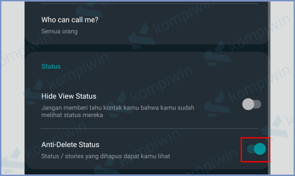 Aktifkan Anti Delete Status