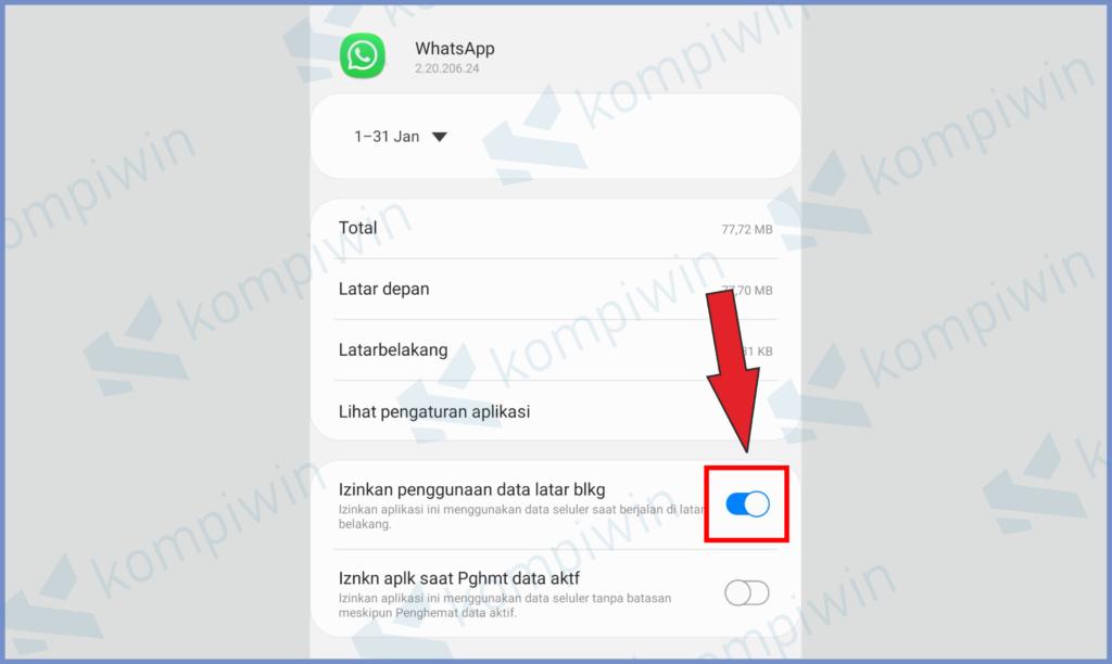 Aktifkan Penggunaan Aplikasi Latas Belakang