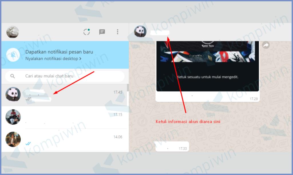 Buka Salah Satu Jendela Chat Dan Ketuk Profilnya